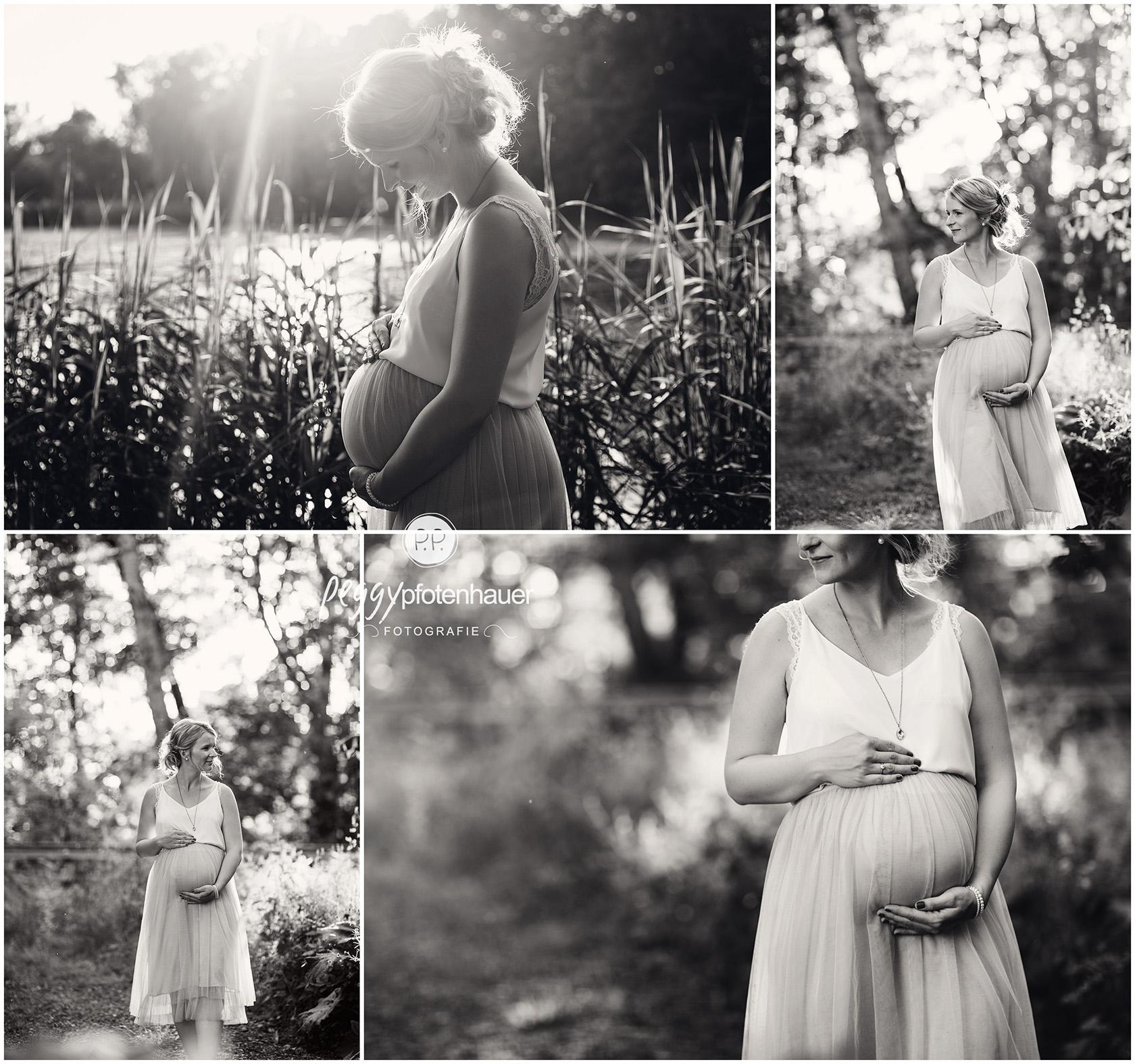 Schwangerschaftsphotos zum Sonnenuntergang