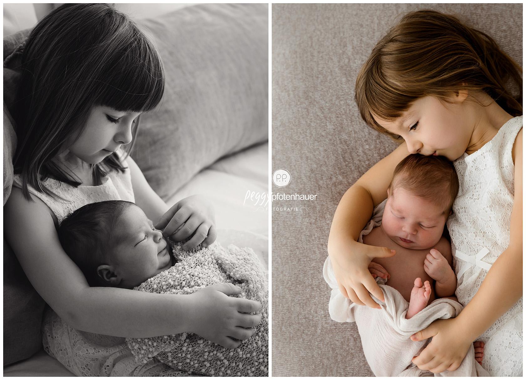 Newbornbilder mit großer Schwester